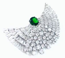 BROOCH Swarovski ELMT Crystal PIN Wedding Bridal CZ Cubic Zirconia Moon Emerald