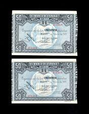F.C. PAREJA CORRELATIVA 50 PESETAS BILBAO 1937 , EBC