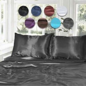 1000TC Silk Satin Single/KS/Double/Queen/King Fitted, Flat Pillowcase Sheet Set