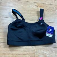 Champion Womens The Spot Comfort Sports Bra 34D Black Maximum Support Gel Straps