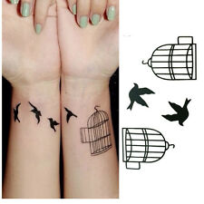 2 Pcs Women Fashion Waterproof Temporary Tattoos STAR BIRD CAGE Sexy tattoo