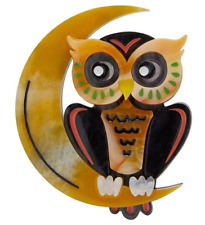 ERSTWILDER BROOCH - A MOON WITH A VIEW - OWL - HALLOWEEN 2019. NEW IN BOX.