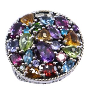 925 Sterling Silver Multi Gemstone Design Ring Size 5 Women Silver Fine Jewelry