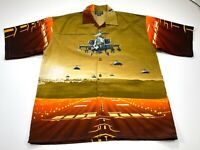 UWR United Workers XXL Men's Button Front Shirt Apache Helicopters