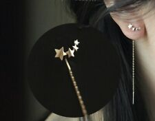 Ohrringe Ohrhänger Durchzieher 925 Sterlingsilber Drei Sterne Zirkonia NEU