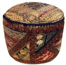 "25"" VINTAGE SARI OTTOMAN BEADED FURNITURE POUFFE FOOTSTOOL CHAIR PILLOW COVER"