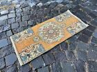 Vintage doormats, Turkish small rug, Hand-knotted wool rug,Carpet | 1,2 x 2,9 ft