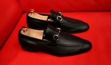 $789.00 !! GUCCI MEN BLACK EXCLUSIVE  LEATHER HORSE BIT LOAFERS SHOES  SIZE 8 D