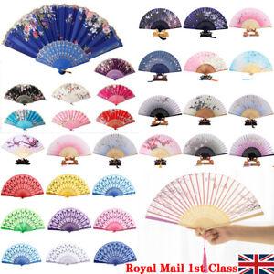 Black Lace Folding Fan Hand Held Spanish Dance Tela Flower Silk Wedding Party UK