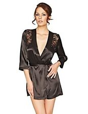 Mio Sexy Iris Black Satin and Lace Robe gift wrapped BNWT size S/M perfect gift