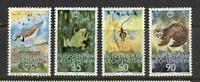 LIECHTENSTEIN 1989, W.W.F. WILDLIFE, ANIMALS, BIRD, TOAD, Scott 907-910, MNH