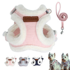 Pet Dog Harness and Lead 5ft Warm Fleece Padded Winter Vest Jacket Small Large