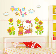 Huge HELLO KITTY Wall stickers 3D Gold Glitter Girls Room Decal Mural Art Paper