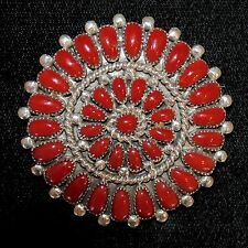 "Coral & Sterling Silver Zuni Petit Point Pendant/Pin by Lorraine Waatsa 1 3/4"""