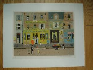 """MICHEL DELACROIX Original Lithograph """"Boulangerie Patisserie"""" - Pencil S & N"""