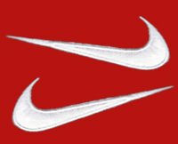 "2pc White swoosh Set Reverse Back To future Costume Nike Shoe 2.8"" Patch"