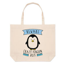 Tenga cuidado con Crazy Pingüino Niño Grande Playa Tote Bag-animales graciosos
