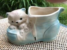 "Vintage ceramic White cat with Blue Ears On a Blue shoe planter 6"" W"