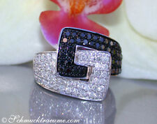Brillanten Ring mit schwarzen Diamanten im Gürtel Design, 1,16 ct. WG-585 3025,-