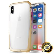 For iPhone X [Metallic Coating] Hybrid Bumper Case Poetic Lucent TPU Cover Gold