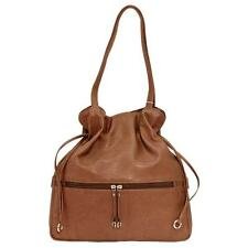 NEW ITALIA LEATHER WOMEN'S DRAWSTRING TOTE BAG WITH COSMETIC CASE ANTIQUE SADDLE