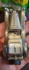 Old Sports Car Silver Metal Miniature Clock Novelty Desk Top