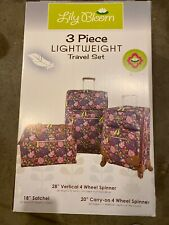 Lily Bloom Luggage 3 Piece Softside Spinner Suitcase Set Collection NEW IN BOX