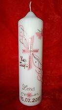 Taufkerze Kommunionkerze Konfirmationkerze Junge Mädchen 40//4cm INKL Schrift 006