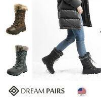 DREAM PAIRS Women Mid Calf Lace Up Warm Faux Fur Lined Insulated Snow Boots