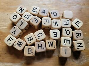 Scrabble Crossword Cubes Replacement Extra Set Lot of 27 Letters Cubes Wooden