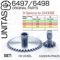 HOUR WHEEL-CANNON PINION SET FOR MOVEMENT ETA-UNITAS 6497/6498, H1, H2 OR H3