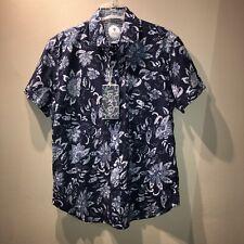 GANESH Men's Large Indigo Blue White Ethnic Flower Print Summer SS Shirt NWT