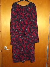 M&S Long Sleeve Floral Textured Crinkle Fabric Tea Dress 12 Burgundy Mix BNWT