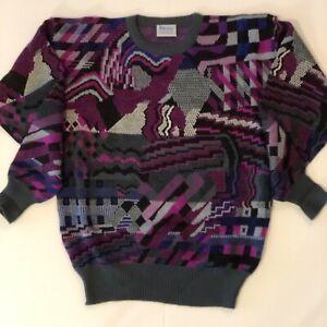 Vintage Meister Mens Ski Sweater Large L - Crewneck Pullover Multi-Color Wool