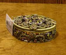 "Welforth Jeweled Trinket Box #J3298 OVAL BOX, NIB from Retail Store 1"" x 3"""