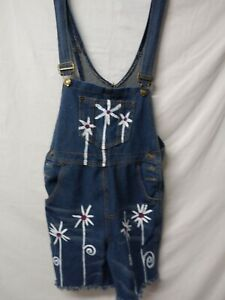 Denim Shortalls Sz S custom painted with white flowers one of a kind inv447