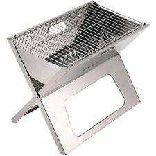 Grill Charcoal BBQ Portable Foldable Chrome Plated- Silver