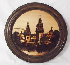 VINTAGE Krauoh-Hahel FOLK ART  Woodburned Painted Plate 10 3/4""