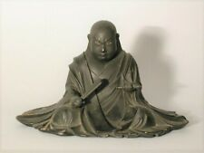 Wood and lacquer figure of sitting patriarch Nichiren, Buddhist, Japan