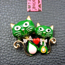 Cat Crystal Charm Brooch Pin Gifts Hot Betsey Johnson Cute Green Enamel Bow