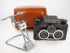 USSR Stereo camera 6x6 format Sputnik. Case, caps. Stereoscope. s/n 068682.