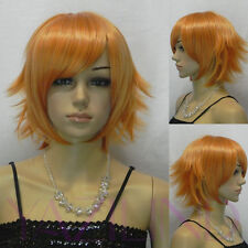 Rock Punk Short Straight Spiky Layered Yellow Orange Cosplay Hair Full Wig