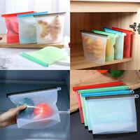 Kitchen Fresh Zip lock Bag Reusable Silicone Food Freezer Storage Ziplock