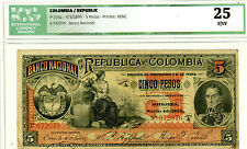 Colombia … P-235a … 5 Pesos … 1895 … *F*