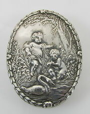 Antique 800 Sterling Silver Cherubs Puttis & Swan in Water Oval Pill Box