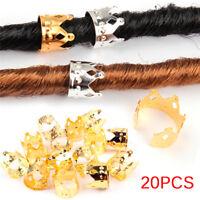 20Pcs Dreadlock Beads Gold Silver Dread Hair Braid Adjustable Cuff tube Clip TK