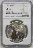 1881-S Morgan Silver Dollar NGC MS 65 Certified $1 San Francisco Mint - BG65
