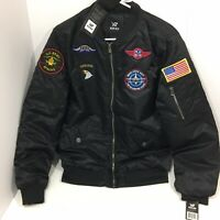 XRay Jeans Men's Military Patch Embellished Flight Jacket - Black Size M/Small