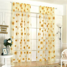 Sheer Voile Window Curtains Sun Flower Drape Panel,Room Door Divider Home Decor