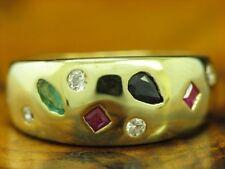 8kt 333 Gelbgold Ring mit Zirkonia, Spinell und synth. Smaragd Besatz / RG 51